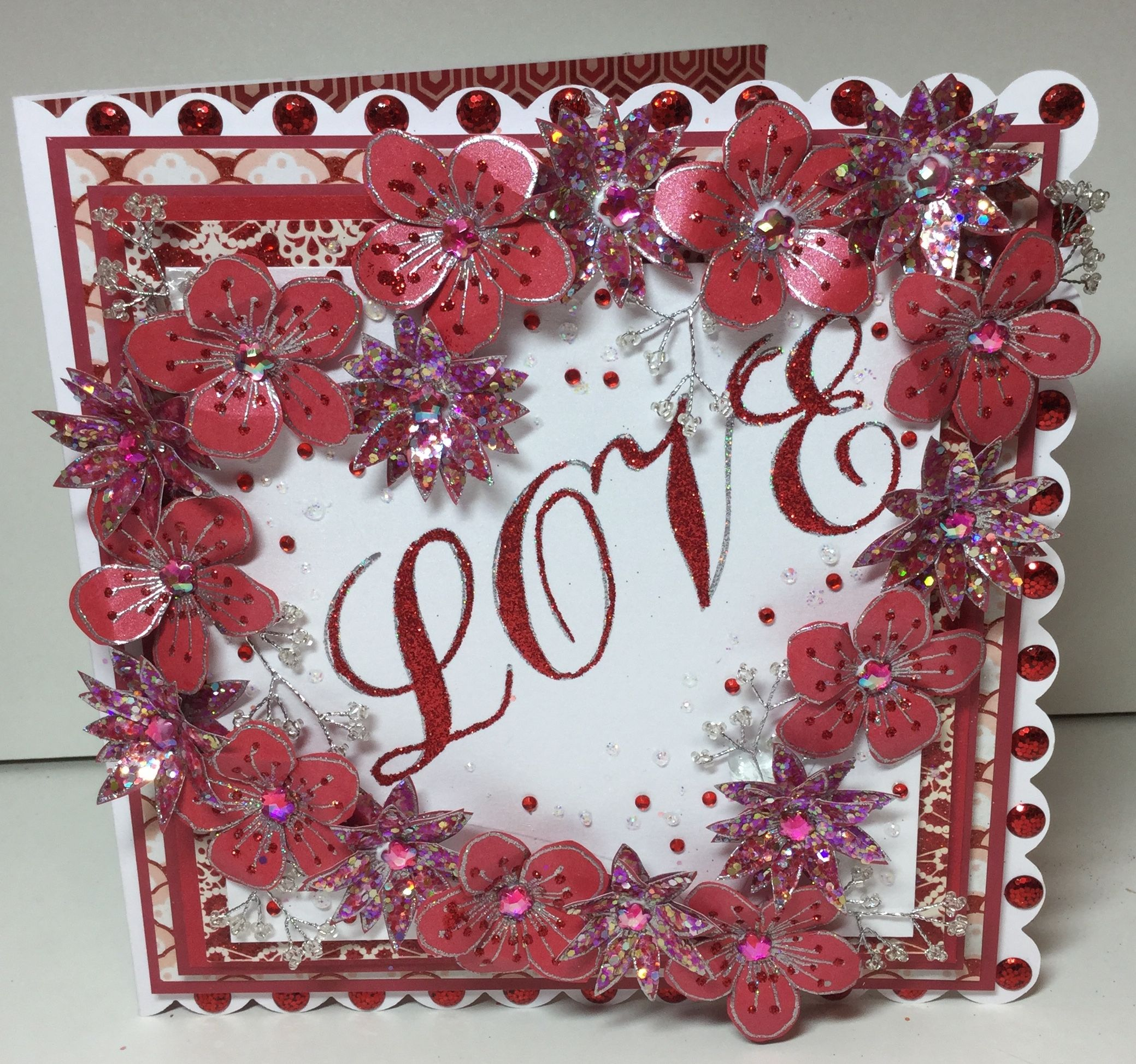 Gorgeous #flower embellished card made using the Stamps by Chloe range. Available to buy at Create & #Craft - http://www.createandcraft.tv/SearchGridView.aspx?fh_location=//CreateAndCraft/en_GB/$s=stamps%20by%20chloe&gs=stamps%20by%20chloe #papercraft #cardmaking