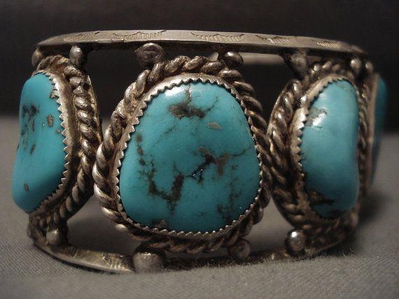 Grosso vecchio Navajo Nlue turchese argento Rbacelet di NativoArts
