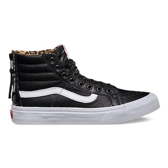 Leather SK8 Hi Slim Zip | Shop Shoes | Vans sk8 hi slim