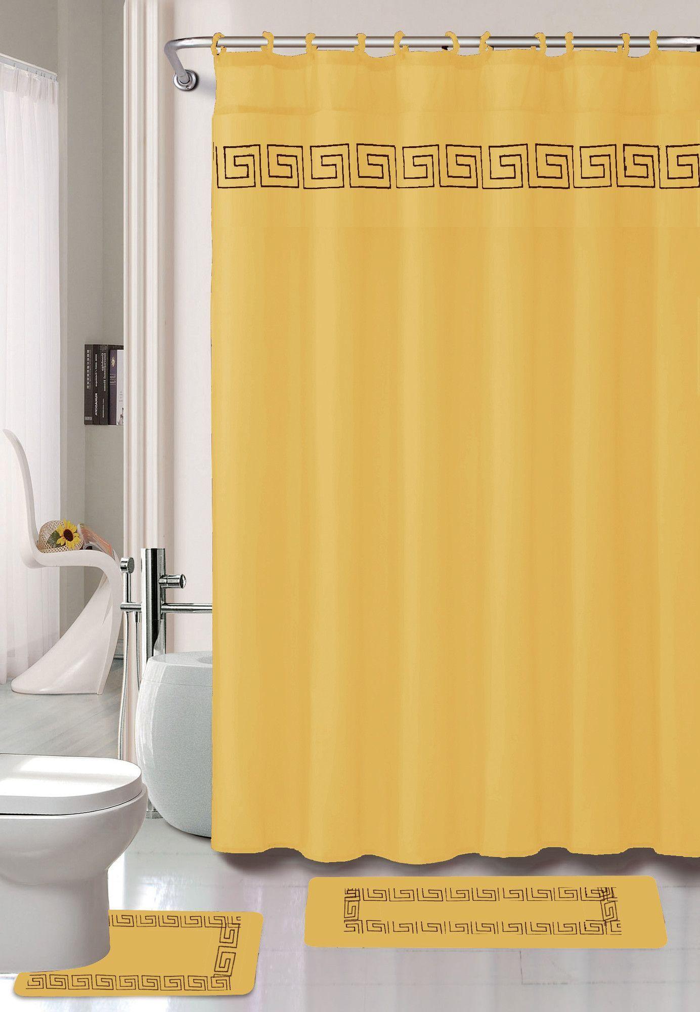 Greek Key 15 Piece Bath Set Hooks Shower Curtain Sets Greek