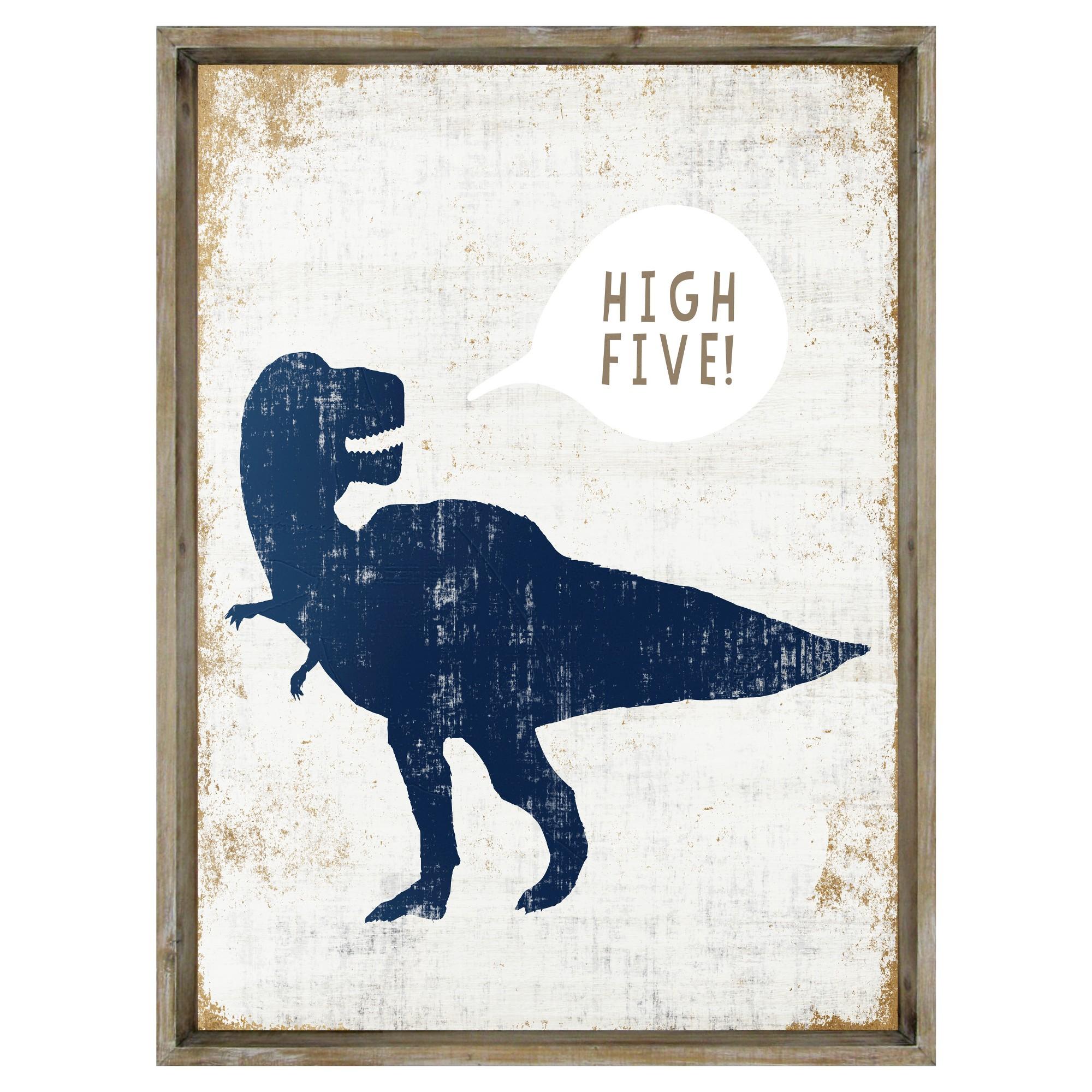 High Five Dinosaur Framed Art Pillowfort Dinosaur Wall Art Pillow Fort Dinosaur Room