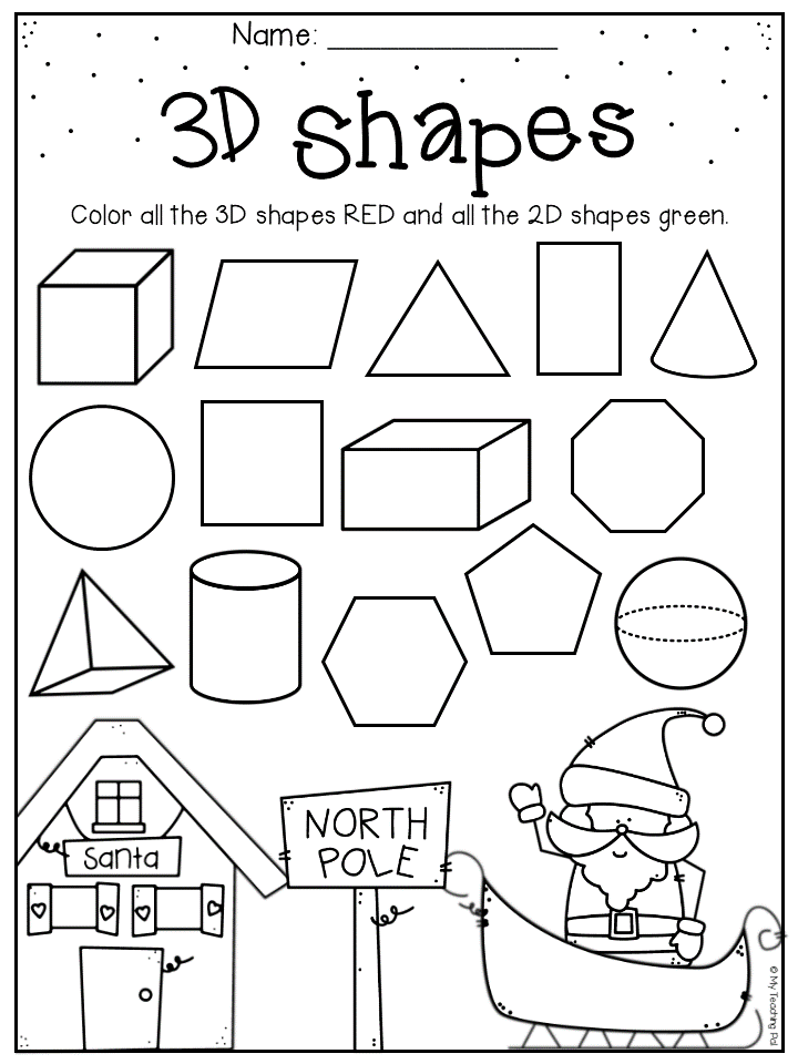 Christmas 3d Shapes Worksheet For Kindergarten And First Grade Christmas Worksheets Christmas Math Worksheets Shapes Worksheet Kindergarten