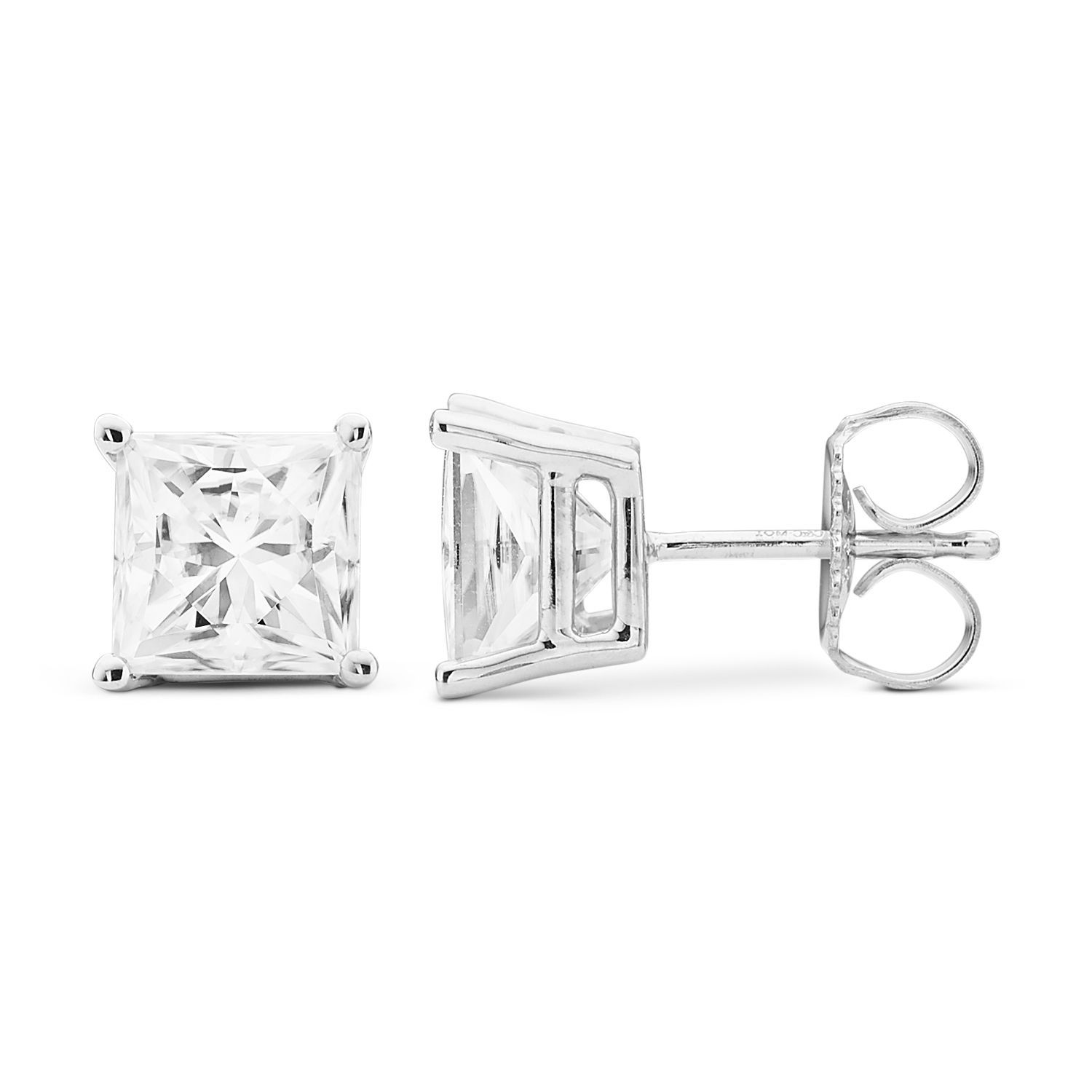 white t lab cushion stud ct moissanite w earrings created gold cut brilliant forever pin