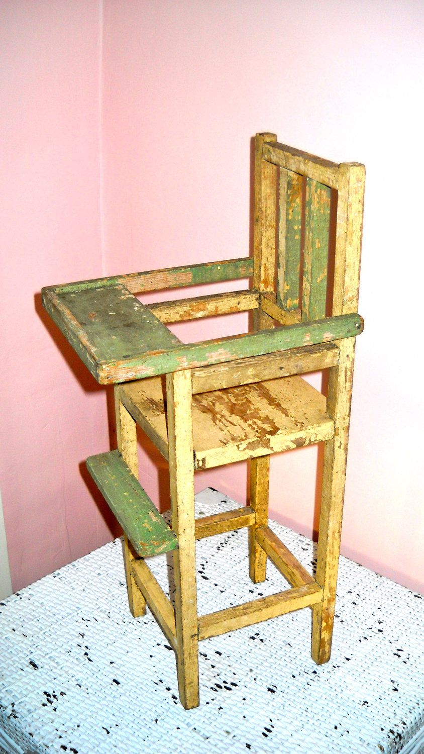 Vintage toy doll large wooden high chair with moveable tray us
