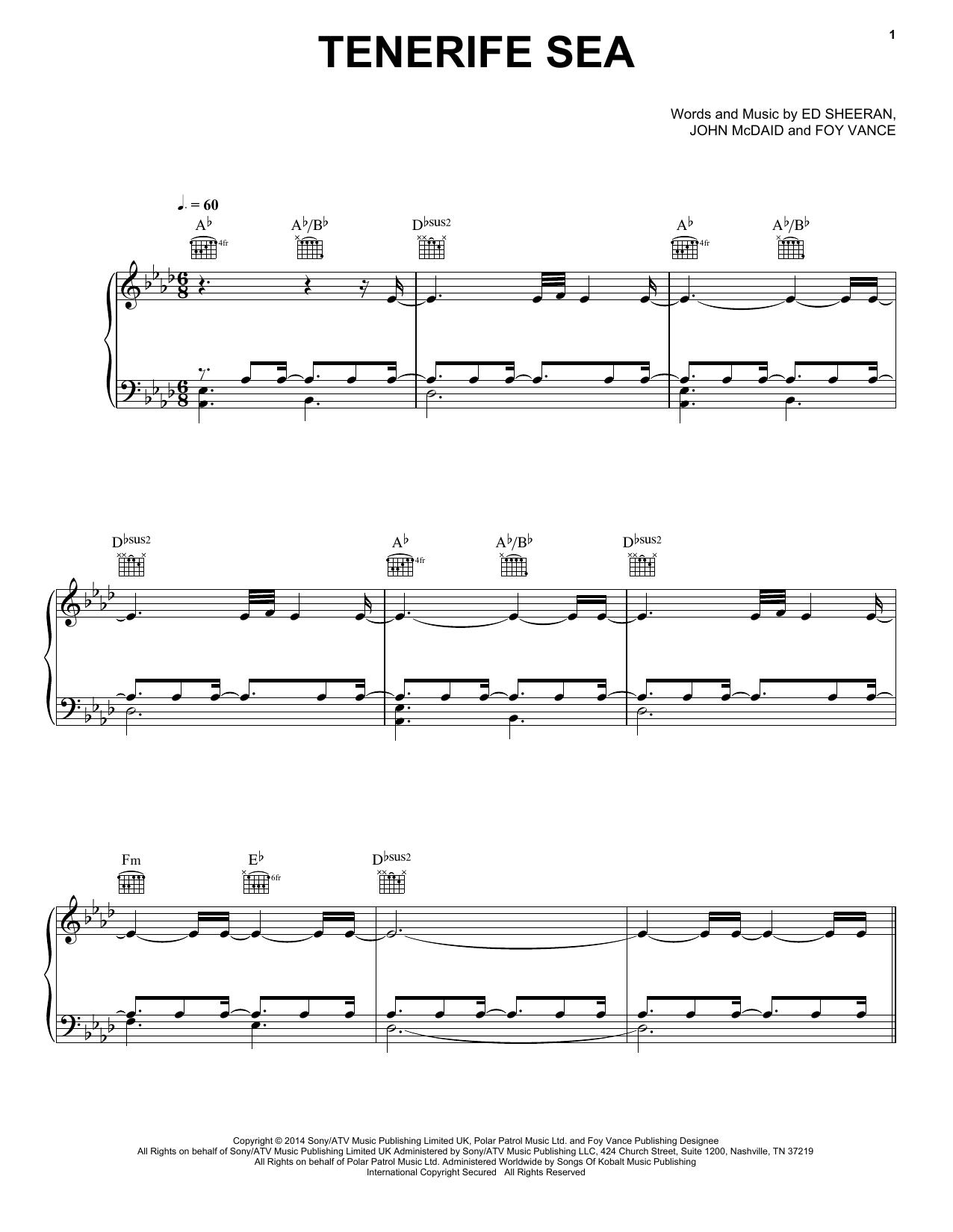 Ed Sheeran Tenerife Sea Sheet Music, Notes & Chords   Sheet music ...