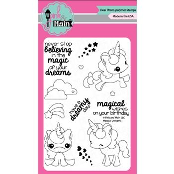 Pink and Main MAGICAL UNICORNS Clear Stamp Set 022108