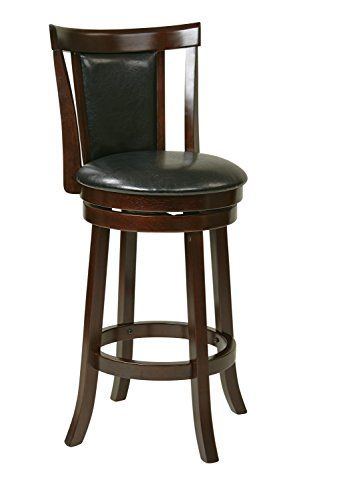 Office Star Metro Faux Leather Seat And Back Round Swivel Barstool With Footrest And Espresso Finish Wood Fra With Images Bar Stools Swivel Bar Stools Osp Home Furnishings