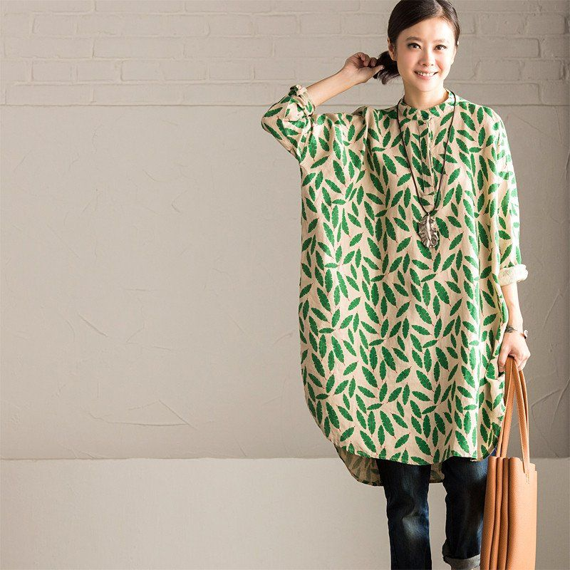 Green Small Leaves Shirt Dress Cotton Linen Casual Women Clothes C670A