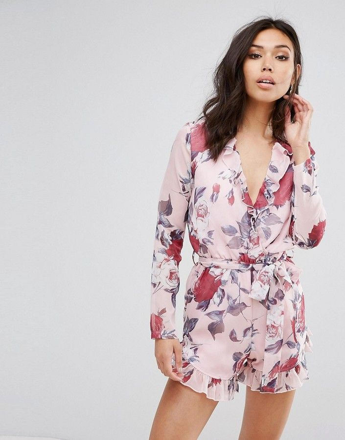 PrettyLittleThing Floral Print Wrap Front Romper - Pink