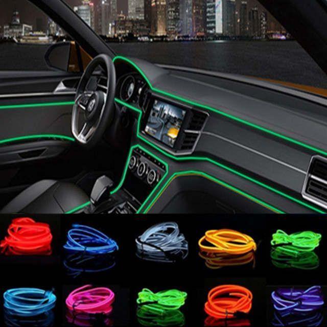 Car Decorative Rope Glow Atmosphere Panel Gap Light Strip Car Interior Neon Light Strip Car Edging Trim Moulding Strip 5 Meters Green