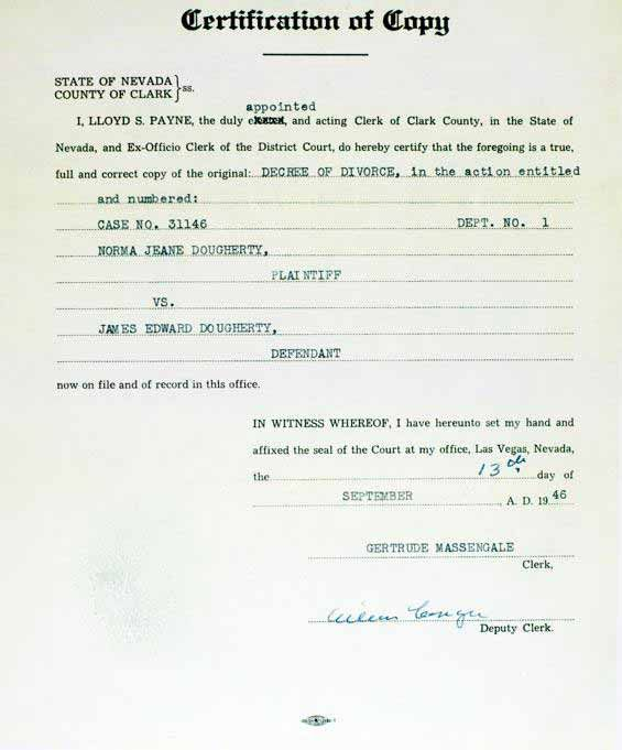 Marilyn Monroe - September 13 1946 - Copy of Decree of Divorce from - copy chinese marriage certificate translation template