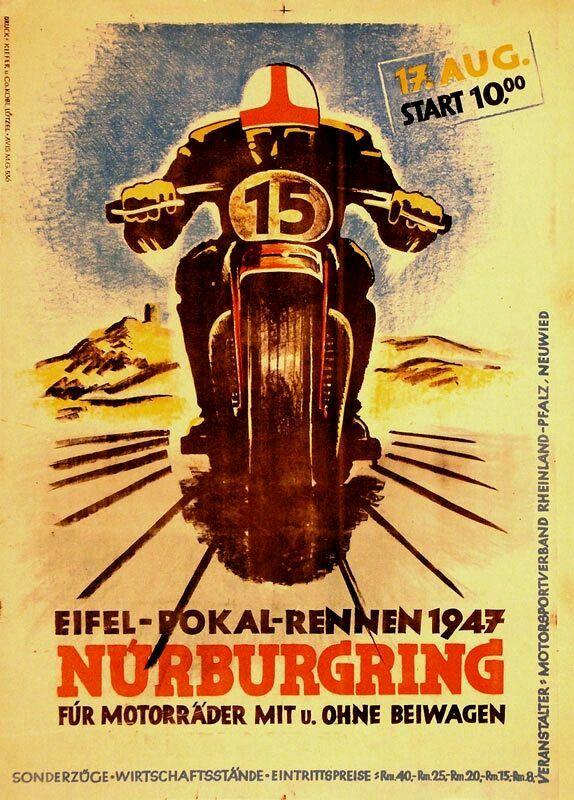 Nurburgring 1947 Vintage Racing Poster Vintage Motorcycle Posters Bike Poster