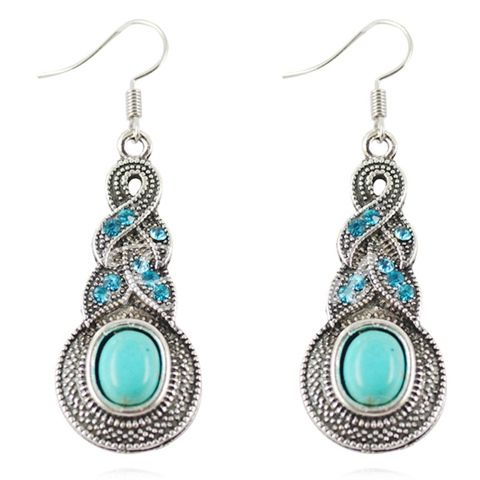 A Suit of Retro Turquoise Rhinestone Women's Necklace and Earrings