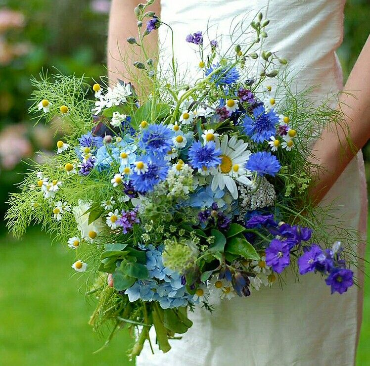 Beautiful Hand Tied Bridal Bouquet Arranged With Blue Cornflower Purple Delphinium White Country Wedding Flowers Blue Wedding Flowers Flower Bouquet Wedding