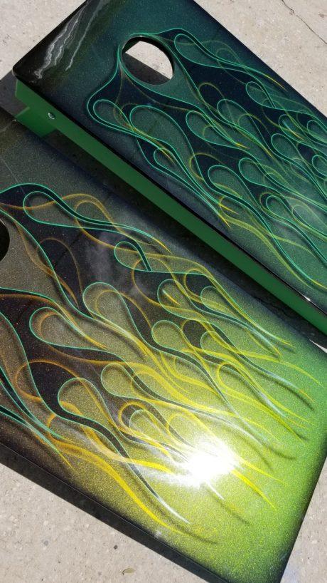 Green Triple Flame Cornhole Board Decals
