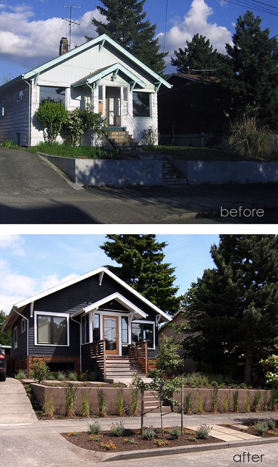 Before after clean and simple upgrade of house exterior for Exterior renovations before and after