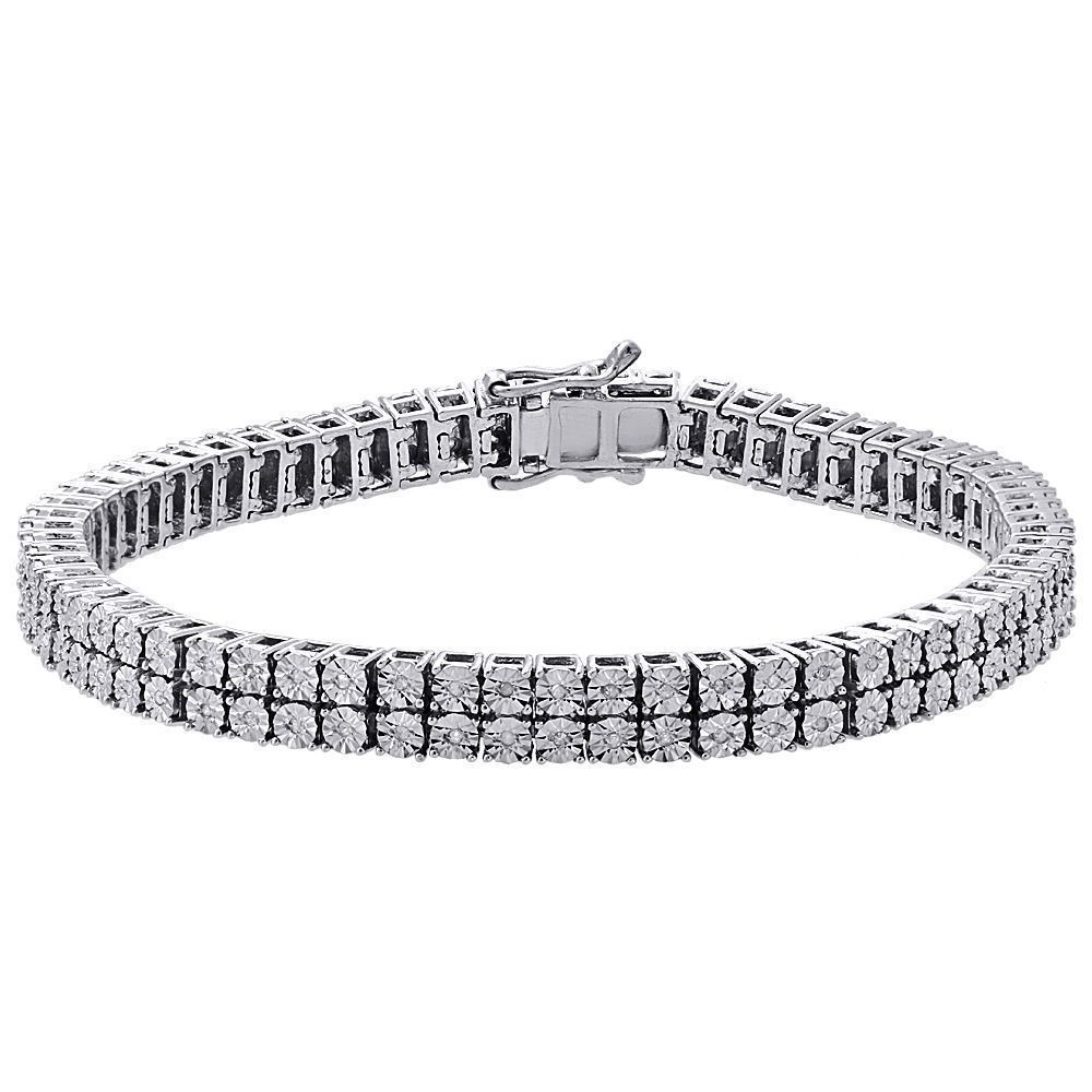 White Diamond Bracelet Mens 2 Row Tennis Link Design Sterling Silver 0 38 Ct Omegajewellery Ten Bracelets For Men Mens Diamond Bracelet Mens Bracelet Silver