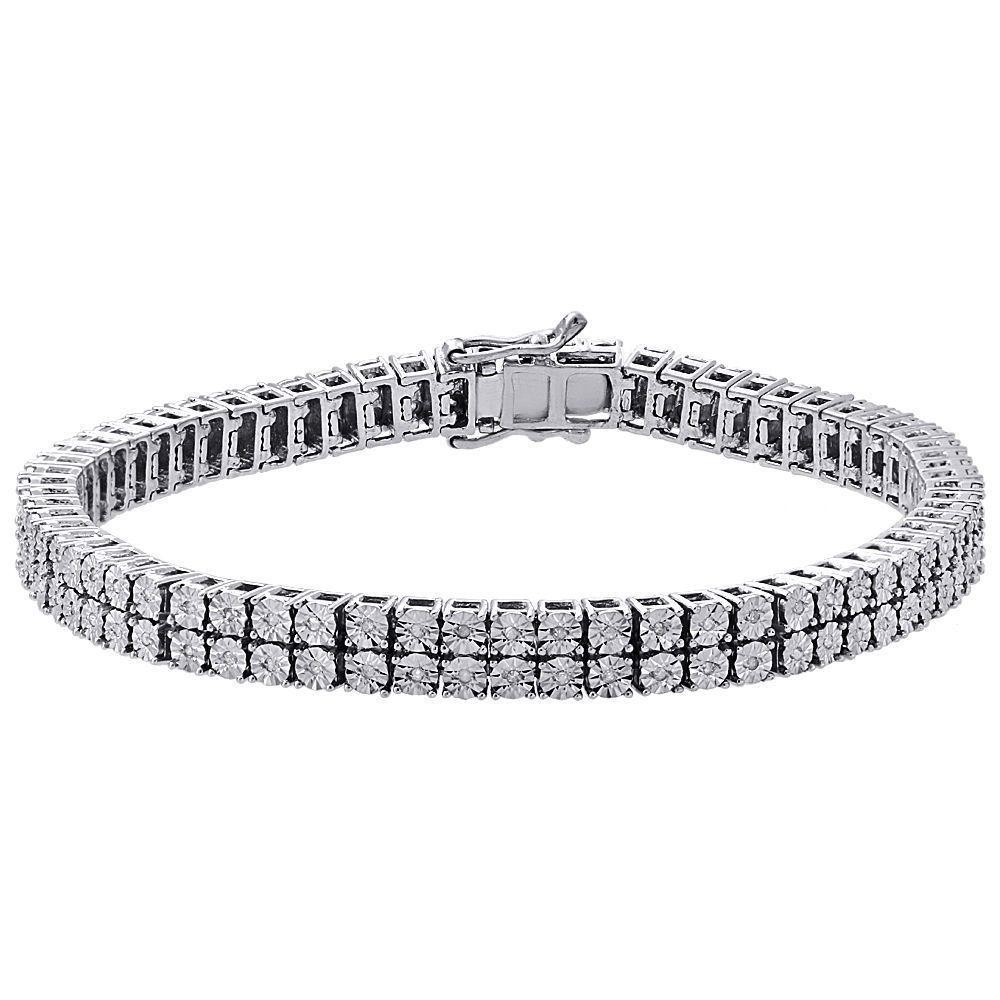 White diamond bracelet mens row tennis link design sterling silver