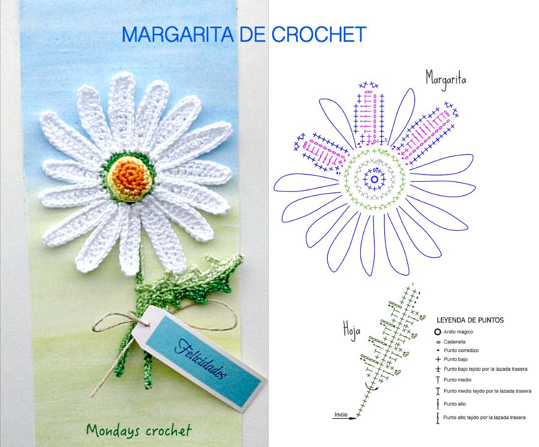 Margarita de crochet. Patrón gratuito | Diagramas de crochet | Pinterest