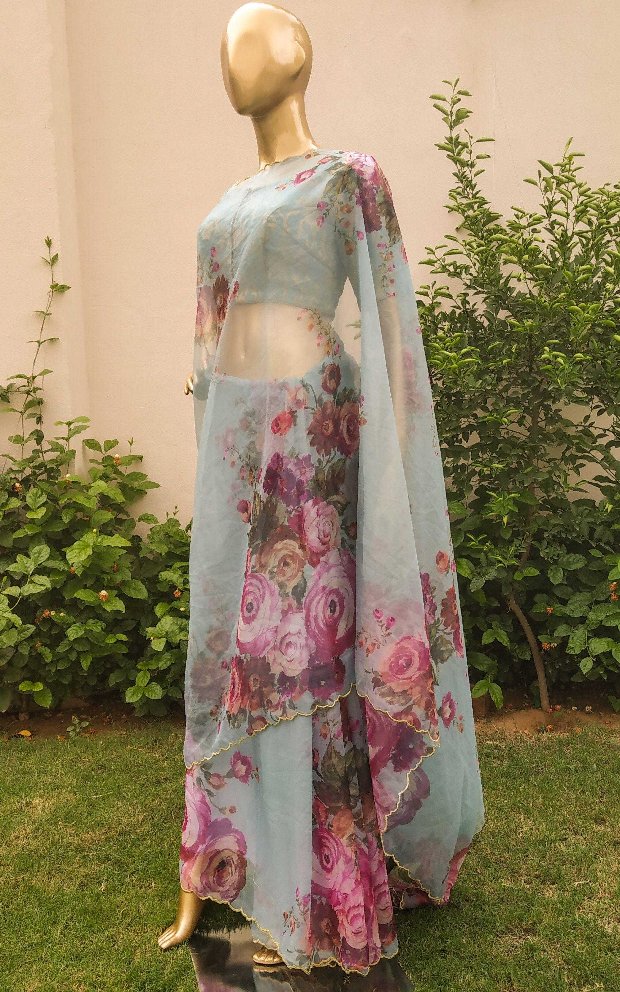 Anushka Green Floral Flower Print Organza Saree Womens Festive Sari Ethnic Wear