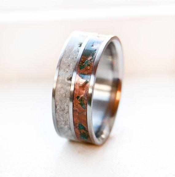 Mens Wedding Band - patina copper and antler titanium Mens Ring SILVER RING