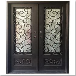 Exterior wrought iron glass doors fern collection for Grafton exterior wrought iron doors