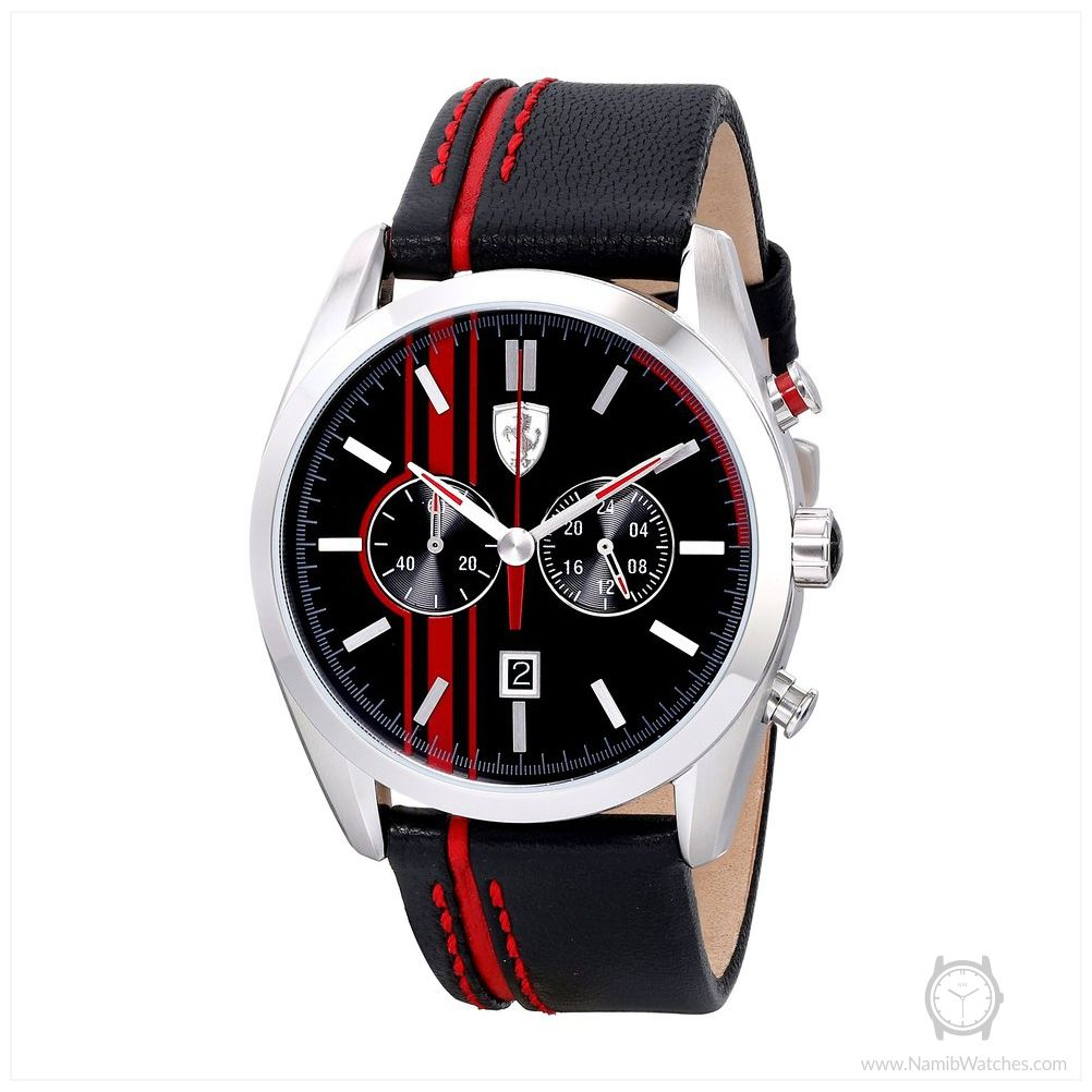 ferrari mens p watches steel chronograph rubber men s stainless scuderia bracelet code strap black