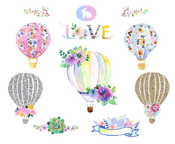Watercolor Hot Air Balloons Clipart Watercolor Flower Clipart