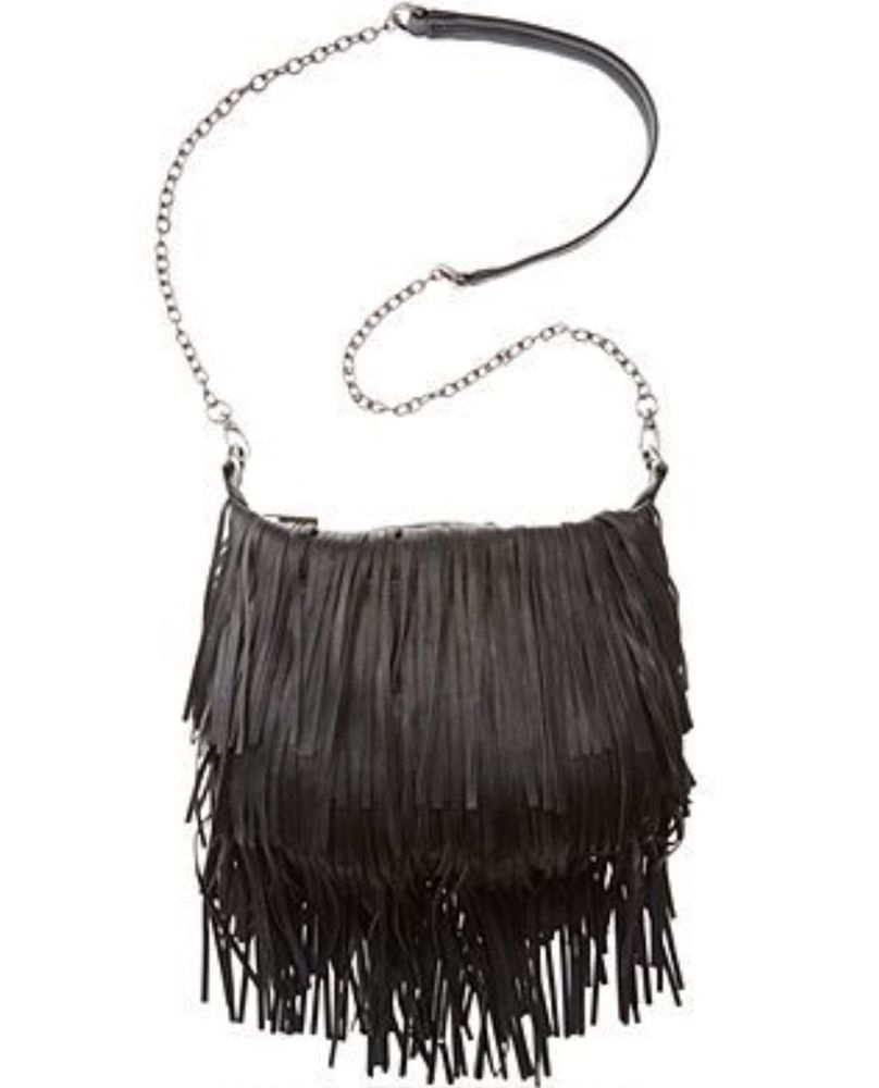 88 Steve Madden Black Convertible Crossbody Fringe Shoulder Bag Ebay