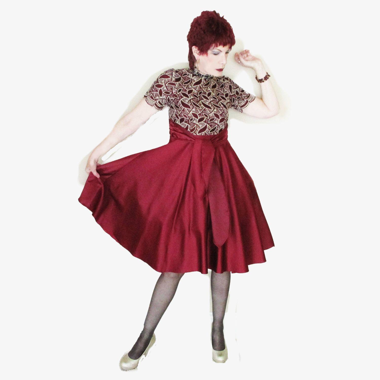 Vintage Satin Holiday Dress - Burgundy Satin - Metallic Embroidery - Full Skirt - High Waist Cocktail Dress by LunaJunctionVintage on Etsy