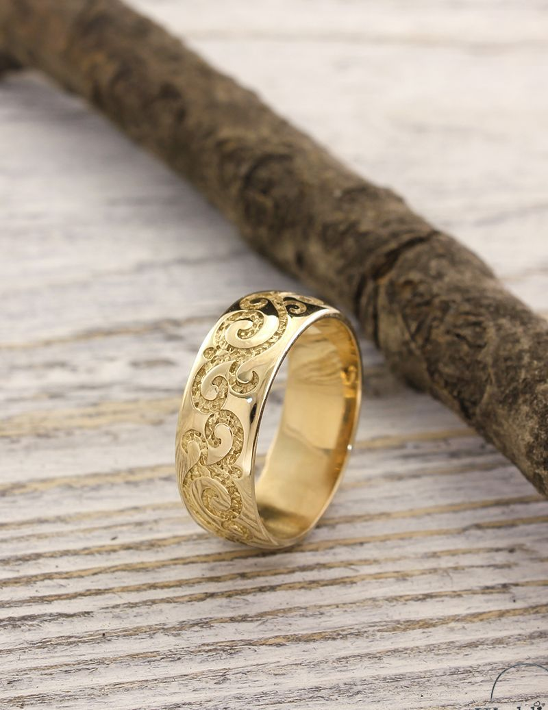 Unique Wedding Band In Vintage Style 7mm Unusual Wedding Etsy Unique Wedding Bands Wide Wedding Rings Engagement Rings For Men