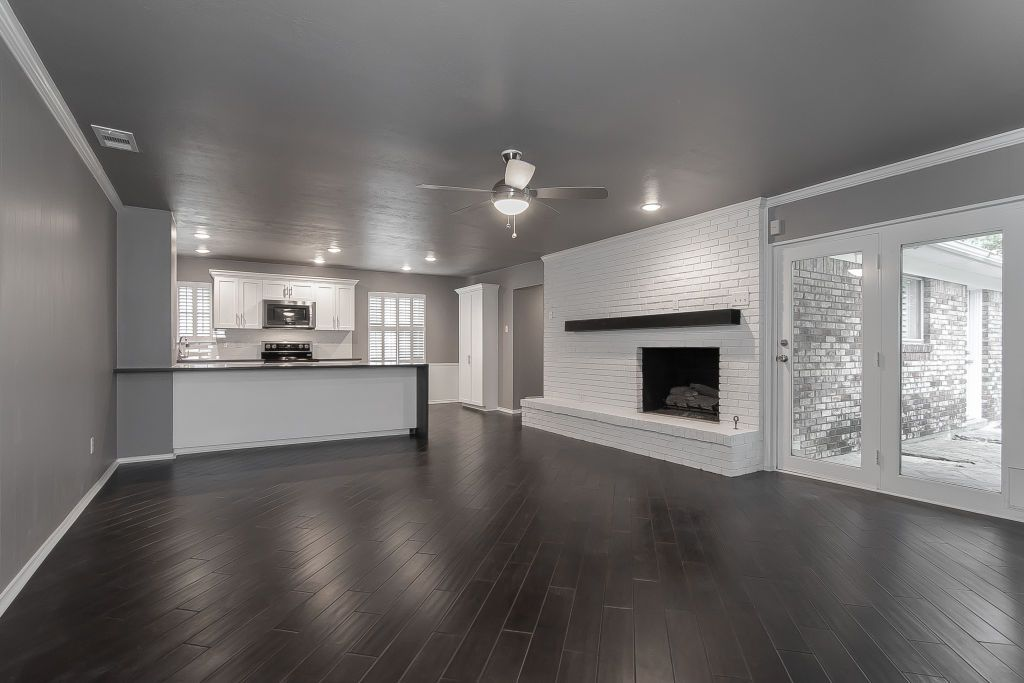 Modern Living Room Dark Wood Floor Floating Fireplace Mantel White Brick Waterfa Dark Wood Floors Living Room Living Room Wood Floor Grey Walls Living Room