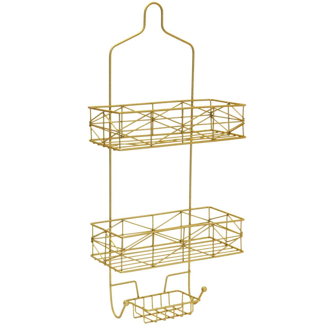Shower Caddy Storage Basket Bathroom Gadget Ti-PVD Golden Finish //Luxury Style