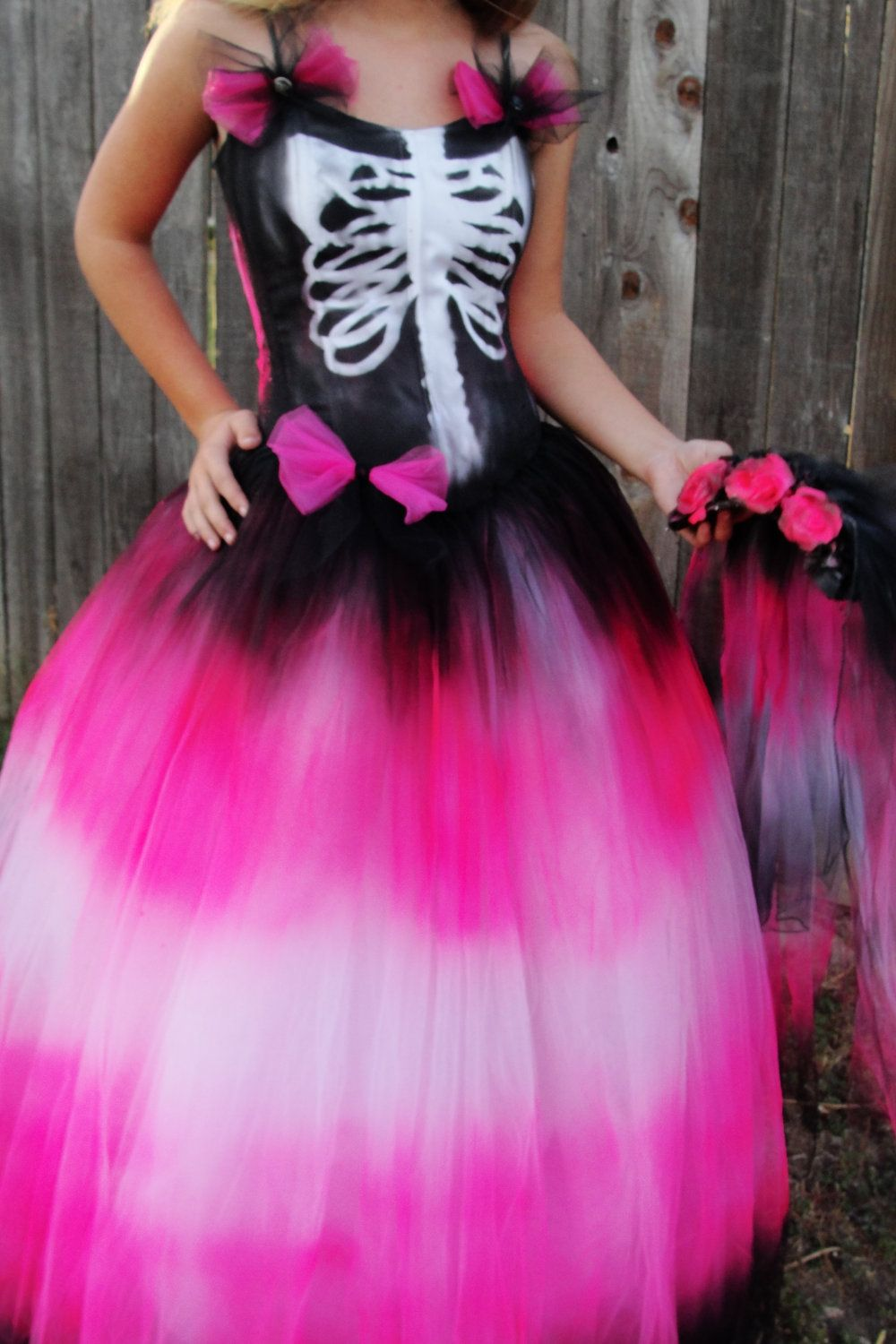Black hot pink skeleton day of the dead halloween costume with ...