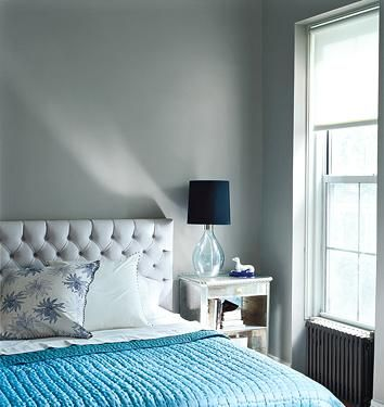 gray and blue bedroom design gray tufted headboard turquoise blue throw glass lamp with black shade and gray walls - Blue Gray Walls