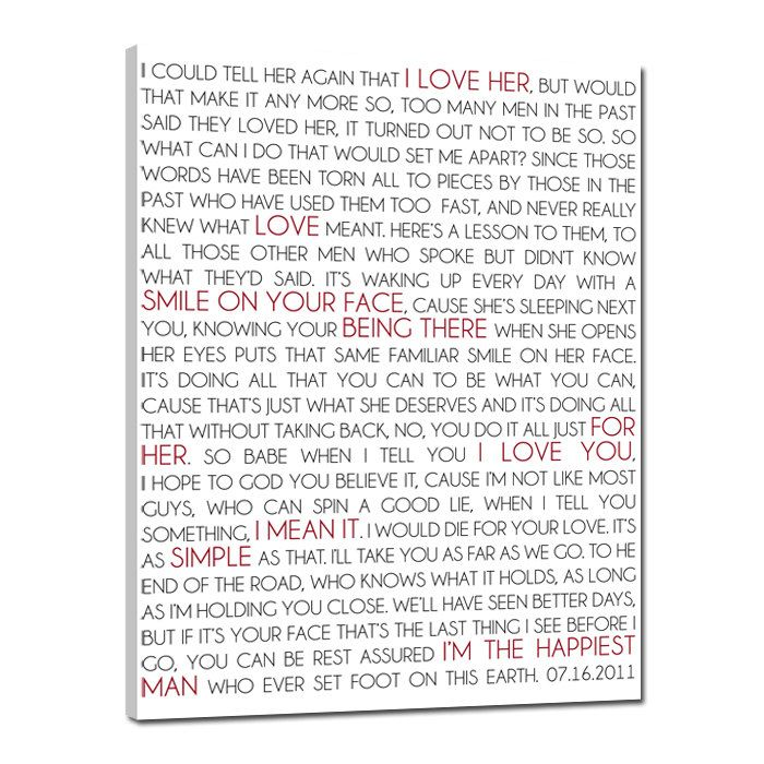 Wedding VOWS Word Wall Art Writing On Canvas Vows Gift CUSTOM Or