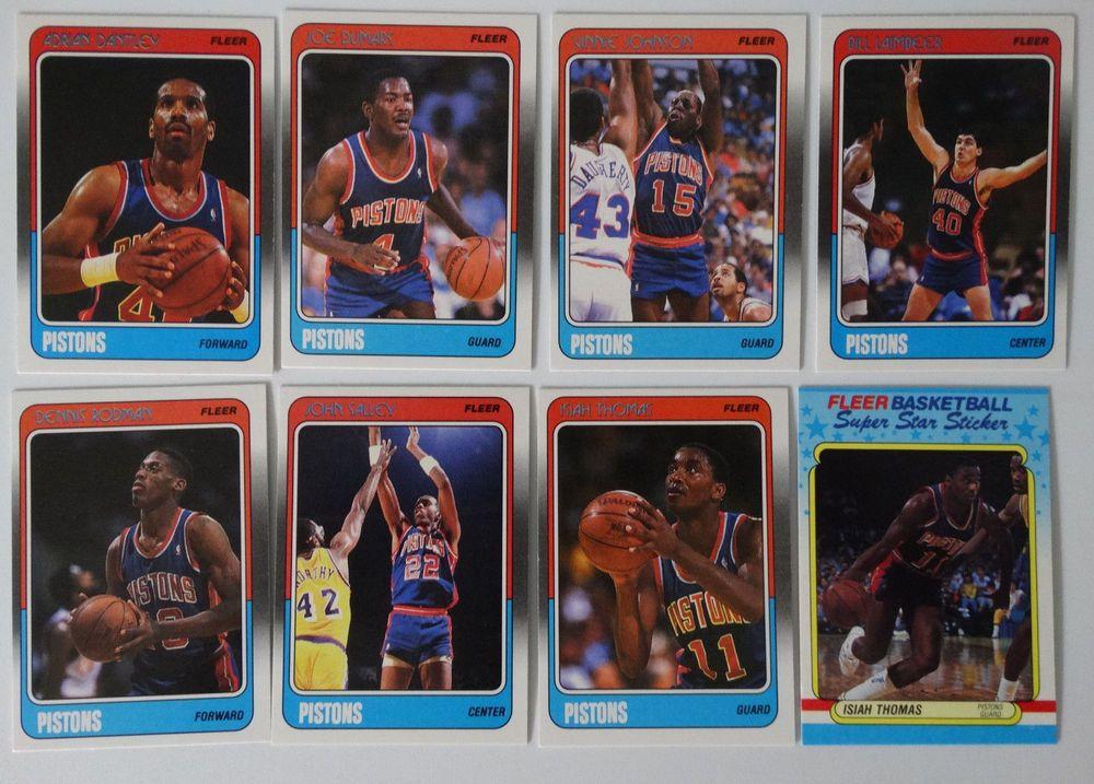 198889 fleer detroit pistons team set of 8 basketball
