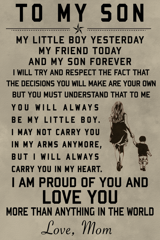 Cv44 Family Poster To My Son Free Shipping From 2 Items Soulwarriors Mother Quotes Son Quotes From Mom My Children Quotes