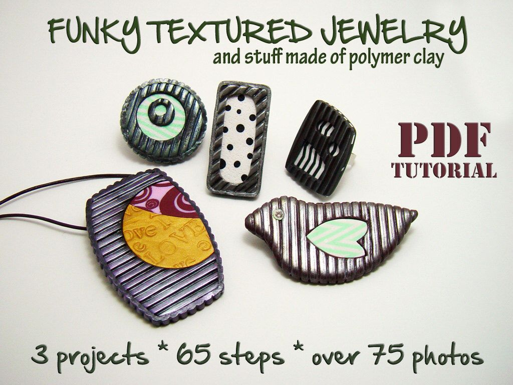 Polymer clay tutorial, PDF instructions, DIY idea, Rich texture jewelry, Funky robust jewelry, DIY oversized rings, Step by step e book, by ArtStudioKatherine on Etsy https://www.etsy.com/listing/186288153/polymer-clay-tutorial-pdf-instructions