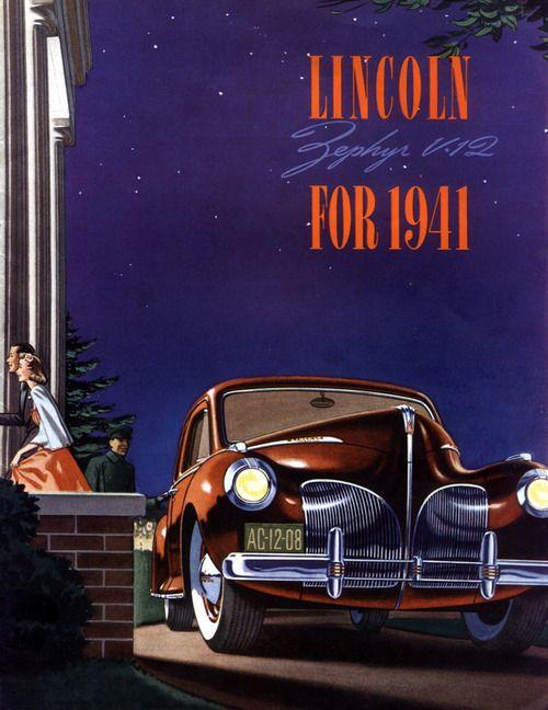 Remarkably Retro Lincoln Zephyr V 12 1941 ポスター