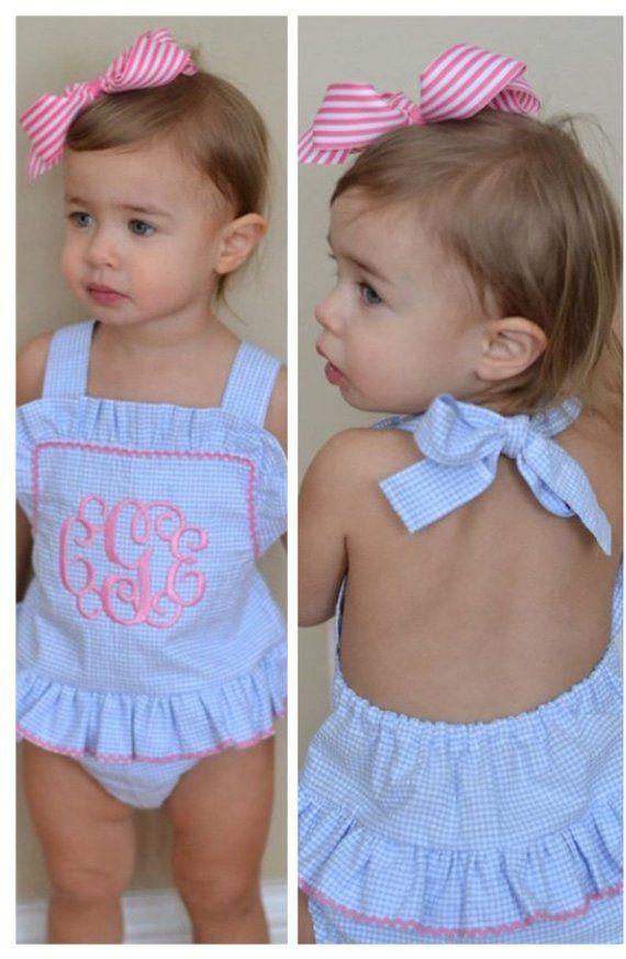 b3491ba52e Baby bathing suit, Monogrammed infant girl swimsuit gingham handmade girl  bathing suit toddler