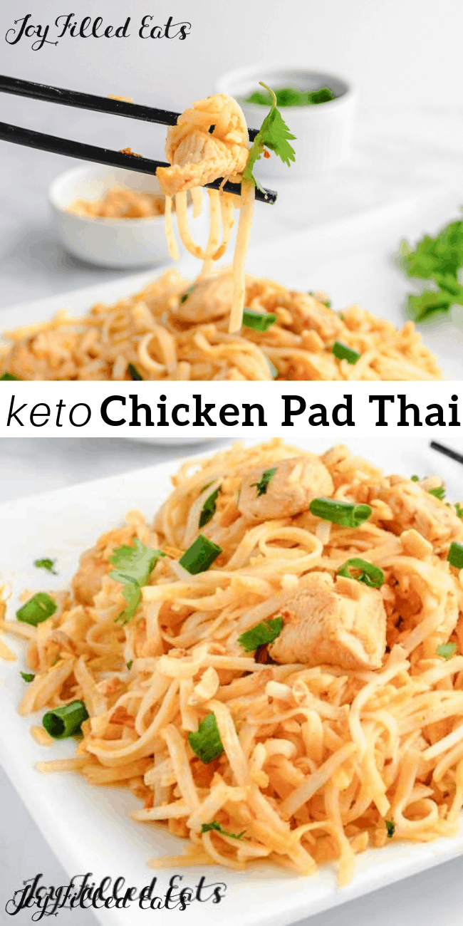 Keto Chicken Pad Thai - Gluten-Free, Low Carb, Dairy-Free, THM S #ketorecipes