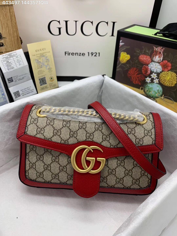 f33067c017a75 Gucci woman GG marmont chain shoulder bag supreme red   Gucci bags ...