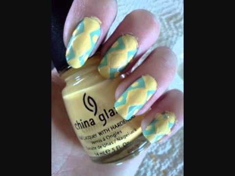 Yellow and blue zig zag stripe nails