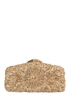 the Nude Face Gold Flower Clutch