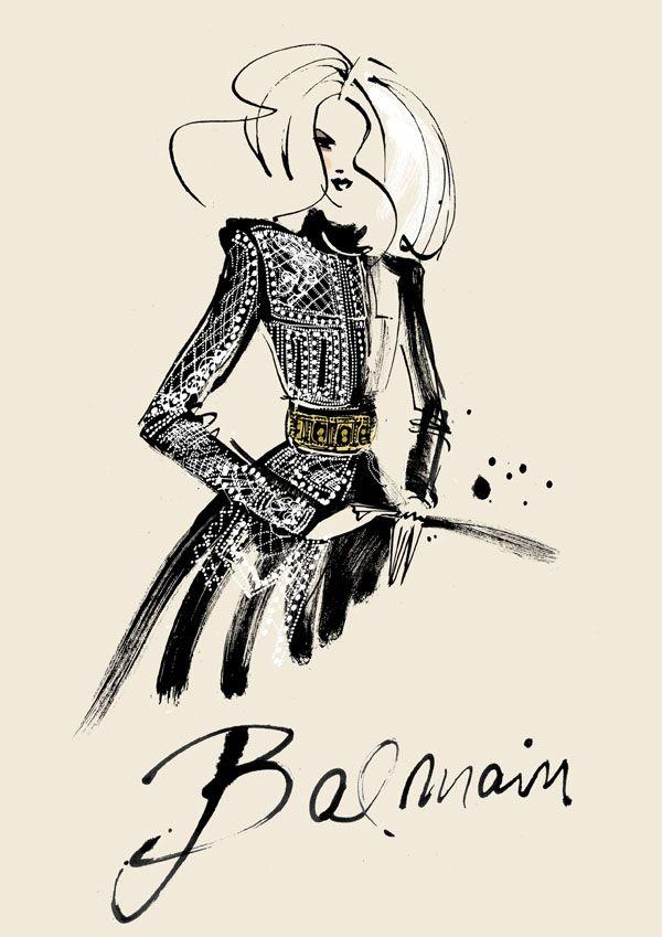 #MargareteGockel #Illustration. #Balmain. #Fashion #FashionIllustration
