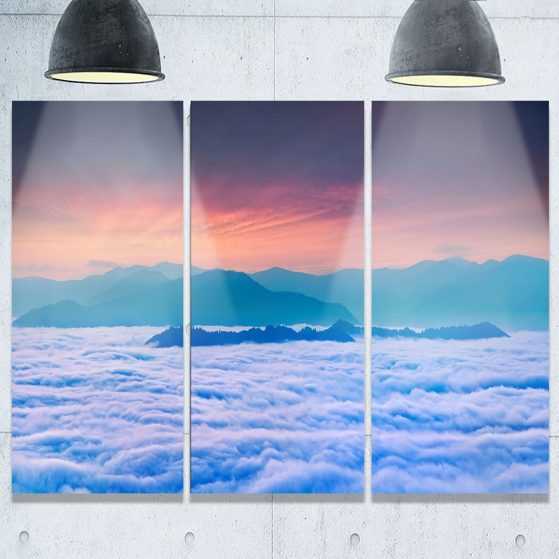 Designart sea of white fog and mountains landscape photo glossy