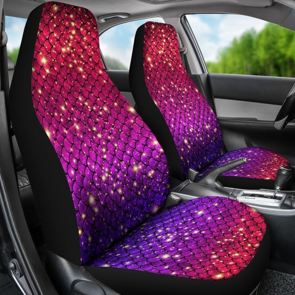 Brilliant Sparkly Mermaid Scale Car Seat Cover Set Of 2 Mermaids Creativecarmelina Interior Chair Design Creativecarmelinacom