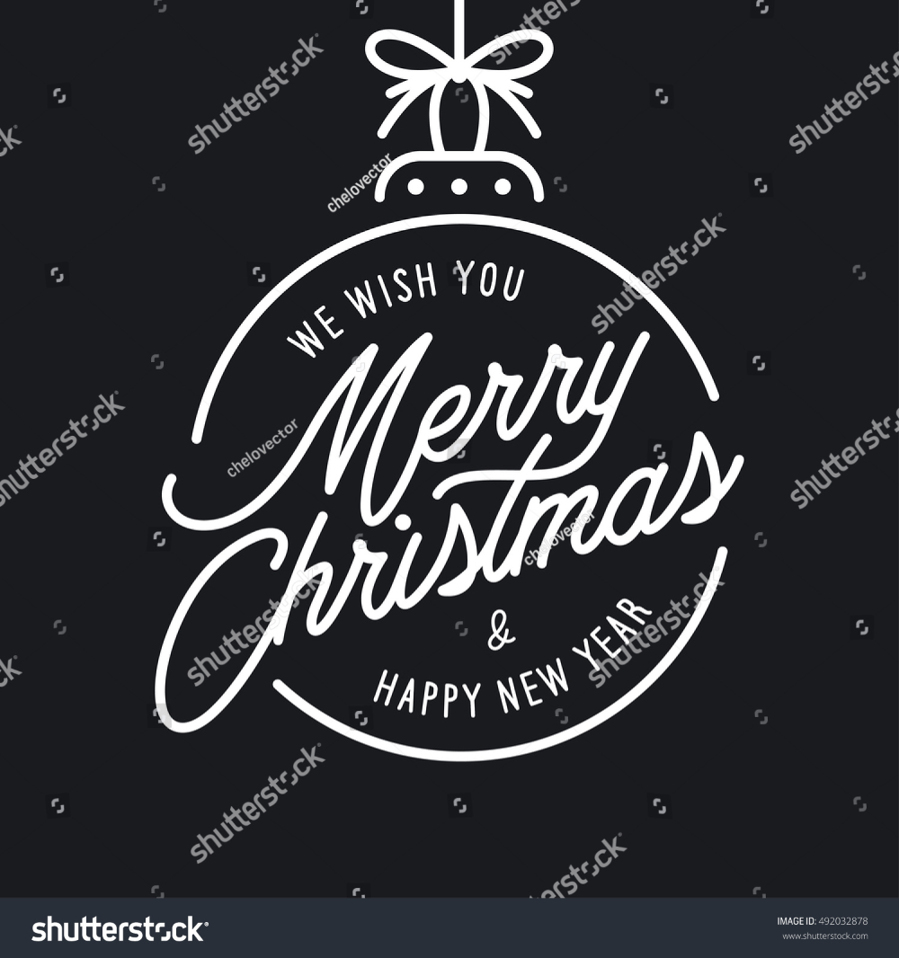 Merry Christmas Happy New Year Lettering Stock Vector Royalty Free 492032878 Merry Christmas And Happy New Year Happy New Year Letter Happy New Year