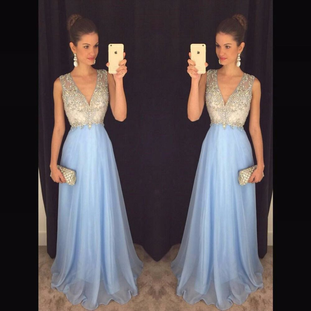 >> Click to Buy << 2016-Lavender-Prom-Dresses-Beaded-Sequins-Sexy-Deep-V-Neckline-Beaded-Appliques-Chiffon-Long-Prom-Gowns #Affiliate